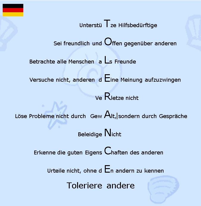 Decalogue of tolerance GER