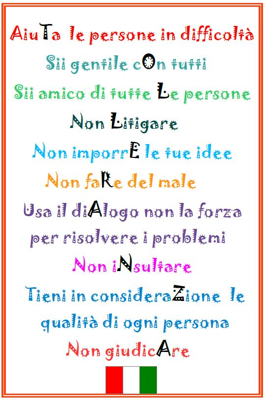 Decalogue of tolerance ITALY